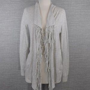 Rebecca Taylor Fringe Wool Cardigan Sweater - M